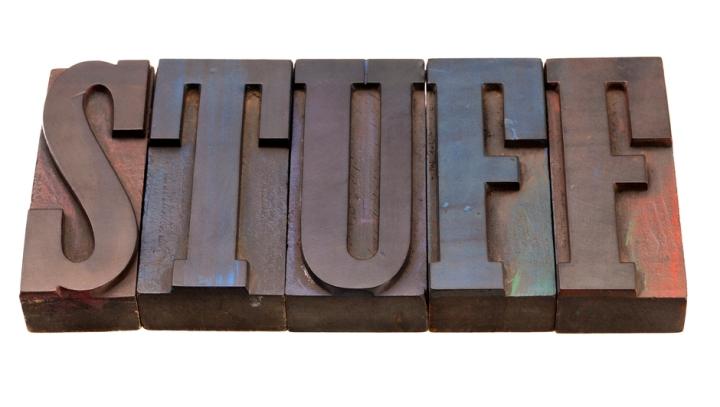 stuff - word in letterpress type
